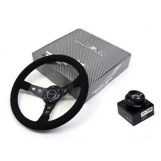 90 93 Toyota MR2 NRG 350MM Suede Steering Wheel + Hub Adapter Black