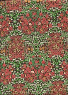 RARE Rose Hubble Art Nouveau William Morris Fabric Blackthorn Scarlet