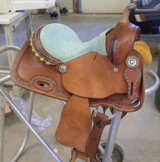 Beautiful 12OR13 Youth Barrel Saddle Green Bling New