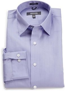 METROPOLITAN VIEW Mens Brown Cotton Striped Dress Shirt