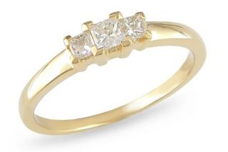 14k Yellow Gold Diamond 3 Stone Ring, (.25 cttw G H Color