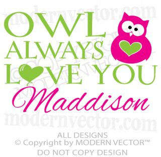 Owl Always Love You Personalized Name Vinyl Wall Decal Sticker Boy