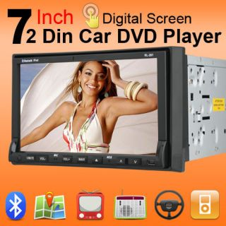 Double 2 Din In Deck Car DVD Player Digital Touch Screen TV CD Radio