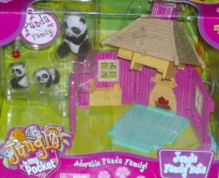 Jungle in My Pocket Family Huts Panda Bear Playset 5 PC