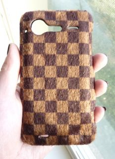 For HTC Droid Incredible s 2 6350 Designer Faux Fur Damier Cover Case