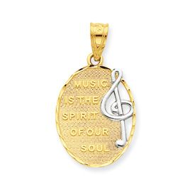 New 14k Two Tone Gold Inspirational Music Pendant