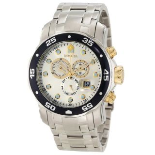 Invicta 10373 Mens Pro Diver Silver Dial Two Tone Gold Plated