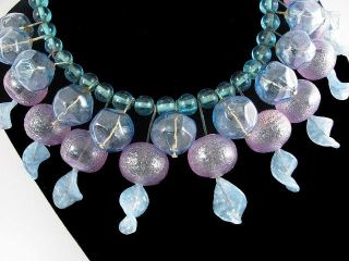 Italian Art Glass Bead Necklace Vintage Modern Mod