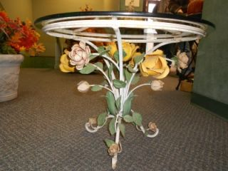 Italian Vintage Shabby Chic 1960s Toleware Roses Flower Table with
