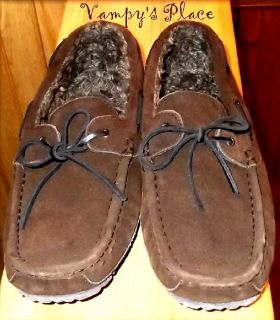 Mens Clarks Commander Brown Suede Indoor Outdoor Moccasin Slippers New