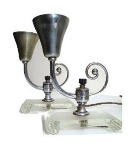 Pair Art Deco Nouveau Torch Glass Vanity Table Lamps