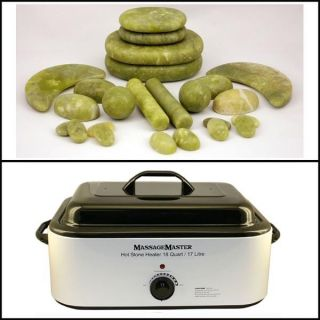 Hot Stone Kit 24 Green Jade Stones 18 Quart Hot Stone Heater
