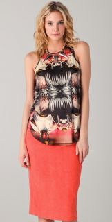 Michael Angel Print Tank Top with Silk Panel