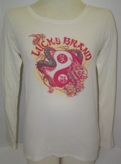 Womens Lucky Brand Red Dragon L s T Shirt Tee s M L