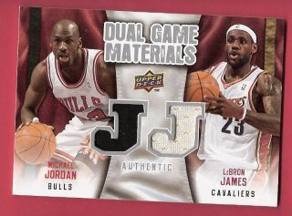 Lebron James Michael Jordan Game Used 2 Jersey Card Chicago Bulls