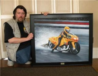 Original Oil Painting Motorcycle Art NHRA Pro Drag Race 30x36 by J