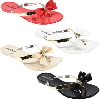 Womens Ladies Fashion Jelly Metallic Diamonte Bow Flip Flop Summer
