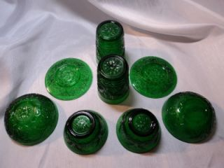 Vintage Green Depression Oatmeal Glass Set 8 Piece Lot