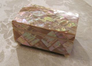 Antique Mother of Pearl Trinket Jewelry Box Circa 1900