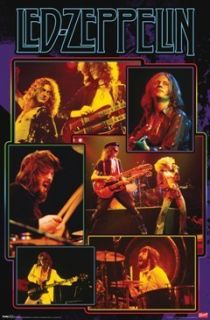 Zeppelin Poster Group Collage Full Size Robert Plant Jimmy Page