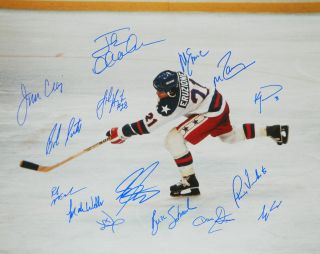 ICE 1980 USA Team Signed Eruzione Game Winning Goal 16x20  SCHWARTZ