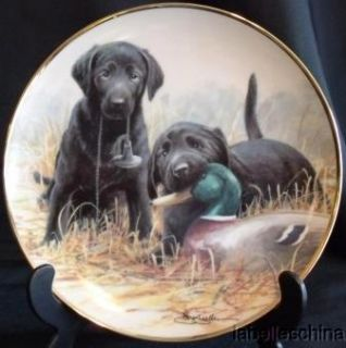 Franklin Mint Beginners Luck Nigel Hemming Ed 8 1 8 Plate Black Labs