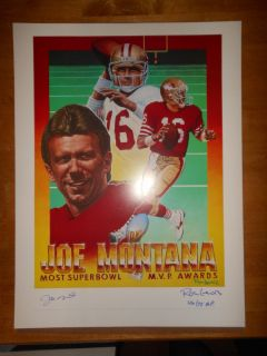 JOE MONTANA Ron Lewis Autograph Auto Litho 18 x 24 Artists Proof 46 of