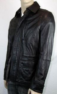 Calvin Klein Mens Black Soft Genuine Leather Full Zip & Snap Close