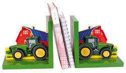 JOHN DEERE TRACTOR WOOD KIDS BOOKENDS FARM SCENE PAIR