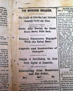 Battle of Cedar Creek Philip Sheridan vs Jubal Early 1864 Civil War Newspaper