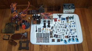 Lot 260 Mega Bloks Dragon Krystal Wars Figures Box Volcano Accessories