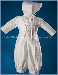 Justin Boys Christening Baptism Blessing Long Sleeve Silk Outfit