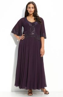 Kara PLUM PURPLE Iridescent Beaded Gown & Wide Sleeves Sheer Jacket