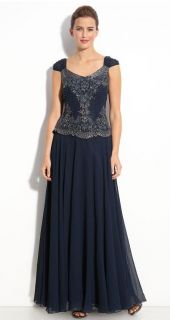 Kara NAVY BLUE Ruched Cap Sleeves Beaded Bodice Chiffon Gown Scarf