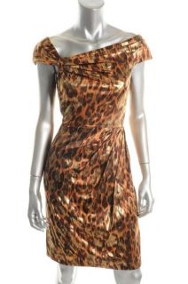 Kay Unger NEW Bronze Silk Glazed Cap Sleeve Asymmetric Neck Cocktail