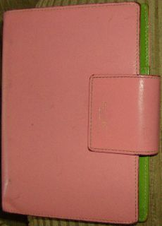 Kate Spade Pink & Green Leather Address Book Organizer Day Planner