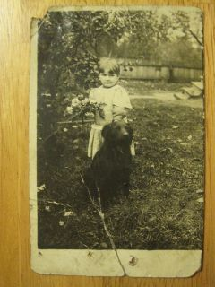 Old Photo Postcard Kenney Girl Labrador Retriever Dog