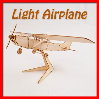 Light Airplane Wooden Model Kit Series Wood Kids Interior Decor Toy