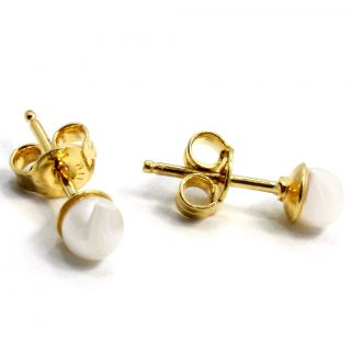 Pearl Plain Gold 18K GF Earrings Baby Girl Kids Push Back Stud