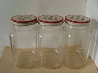 RARE Fire King Clear Coffee Canisters with Tulip Lids