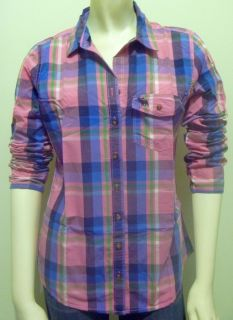 Abercrombie Fitch Women Kirstie Pink Plaid Clasic Shirt Top Medium
