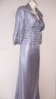 KM Collections Silver Gray Mother of Bride Formal Gown Dress Bolero