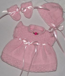 Hand Knitted Baby Reborn Doll Dress Bonnet and Bootie Set