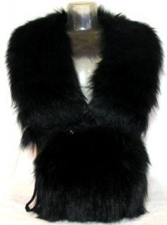 Antique Art Deco Era Fur Collar Stole Muff Hand Warmer Handbag