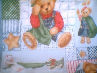 Baby Blanket Toddler Quilt Lap Robe Wall Hanging Blue Jean Teddy Bear
