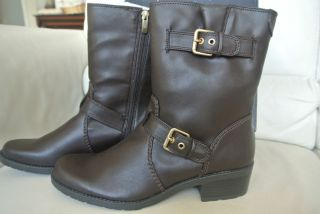 99 AK Anne Klein Laski Dark Brown Gold Womens 6 Boots Booties Shoes