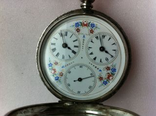 Antique Pocket Watch LE ROY A PARIS 1860 Solid Silver Two Time Zone