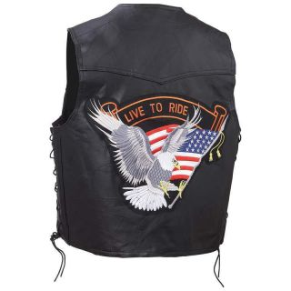 Genuine Buffalo Leather Motorcycle Biker Vest Live to Ride Eagle