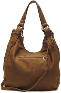 Italian Leather Handbag Purse Hobo Shoulder Bag Tote 7003 Beige