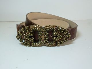 NWOT   LEATHEROCK USA BROWN LEATHER CRYSTAL BUCKLE BELT 7614 WOMENS M